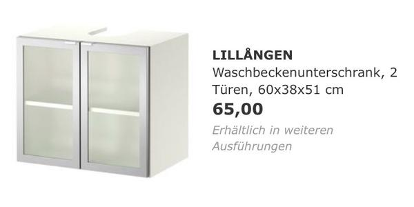 badezimmer unterschrank ikea lillangen wie neu in essen bad einrichtung und ger te kaufen. Black Bedroom Furniture Sets. Home Design Ideas