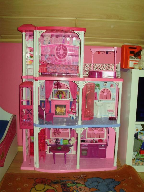 barbie villa haus 3 st ckig pferdestall mit pferd und. Black Bedroom Furniture Sets. Home Design Ideas