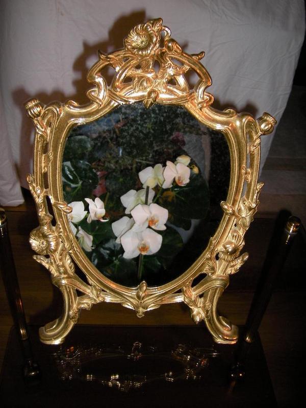 barock filigran klappspiegel kosmetikspiegel tischspiegel aus messing und handarbeit in. Black Bedroom Furniture Sets. Home Design Ideas