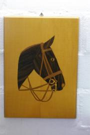 Bild `Pferdekopf` Furnierarbeit