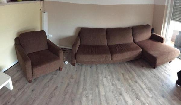 braune l couch mit sessel in velpke polster sessel couch kaufen und verkaufen ber private. Black Bedroom Furniture Sets. Home Design Ideas