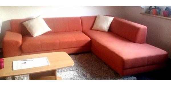 Couch Sofa orange Wohnzimmer Wohnlandschaft Sitzgruppe in ...