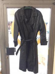Damen-Ledermantel, schwarz-