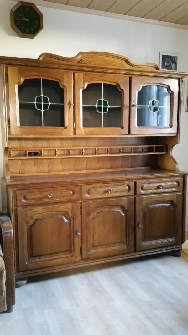 eichenb ffetschrank fronten echtholz guter zustand 187x172x45 cm hxbxt drei schrankt ren. Black Bedroom Furniture Sets. Home Design Ideas