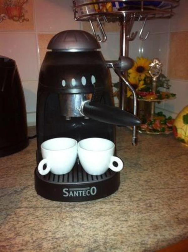 espresso maschine santeco mit milchsch umer 2 tassen. Black Bedroom Furniture Sets. Home Design Ideas
