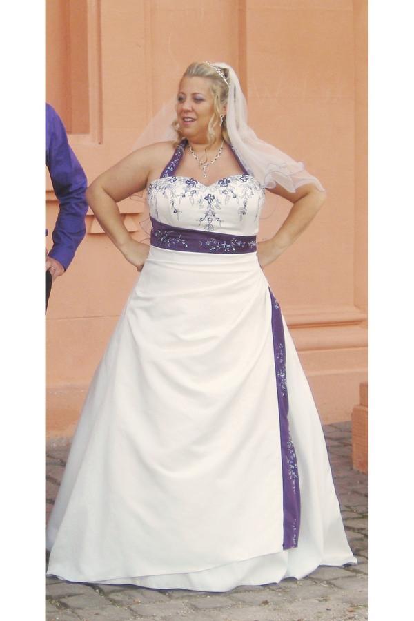 Hochzeitskleid creme-weiß/lila Größe 46 bis 48 in Pfinztal - Alles ...