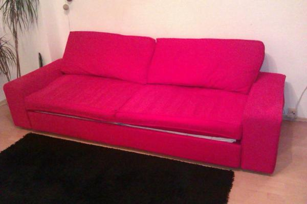 ikea kivik 3er sofa hocker in rot mit bettfunktion in k ln polster sessel couch kaufen und. Black Bedroom Furniture Sets. Home Design Ideas