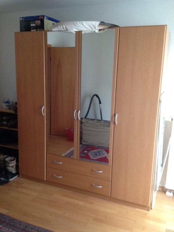 Kleiderschrank mit 4 Drehtüren, 2 Schubladen, 2 Spiegeln in ...