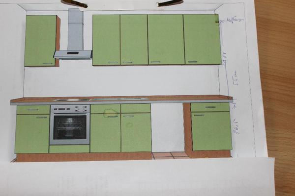 geschirrsp ler und dunsthaube die k che ist f r 3 m ausgelegt zubeh r 4 h ngeschr nke. Black Bedroom Furniture Sets. Home Design Ideas