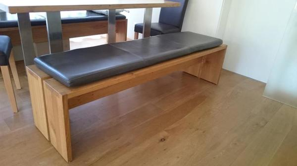 massive holzbank eiche mit leder sitzauflage in stuttgart. Black Bedroom Furniture Sets. Home Design Ideas