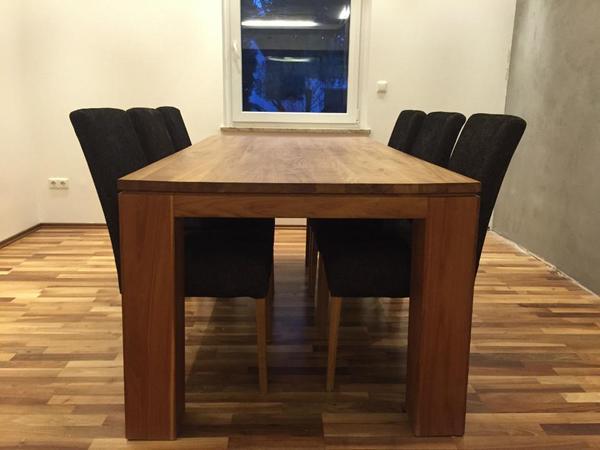 massivholz esstisch mit 6 st hlen esszimmertisch 200 x 100 in duisburg speisezimmer essecken. Black Bedroom Furniture Sets. Home Design Ideas