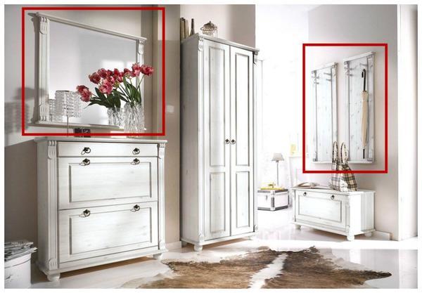 NEU Wandgarderobe Set Spiegel + 2 Paneele Landhausstil weiß massiv ...