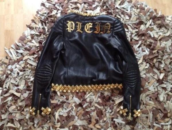 philipp plein lederjacke gold nieten jacke mantel in. Black Bedroom Furniture Sets. Home Design Ideas