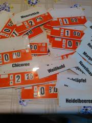 Preisschilder Landenschilder Produktschilder Preisschilder für Obst und Gemüseladen zum Einstellen von Preis, Gewicht, Handelsklasse, Stückzahl, Produkteinsteckschilder (z.B. Zwiebel, ... 100,- D-68623Lampertheim Heute, 09:05 Uhr, Lampertheim - Preisschilder Landenschilder Produktschilder Preisschilder für Obst und Gemüseladen zum Einstellen von Preis, Gewicht, Handelsklasse, Stückzahl, Produkteinsteckschilder (z.B. Zwiebel