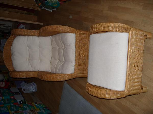 rattan sessel neuwertig mit hocker kissen stillsessel. Black Bedroom Furniture Sets. Home Design Ideas