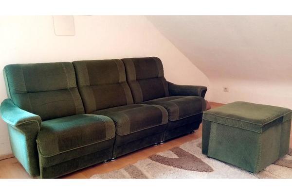 retro sofa 3 sitzer mit hocker cord gr n in n rnberg polster sessel couch kaufen und. Black Bedroom Furniture Sets. Home Design Ideas