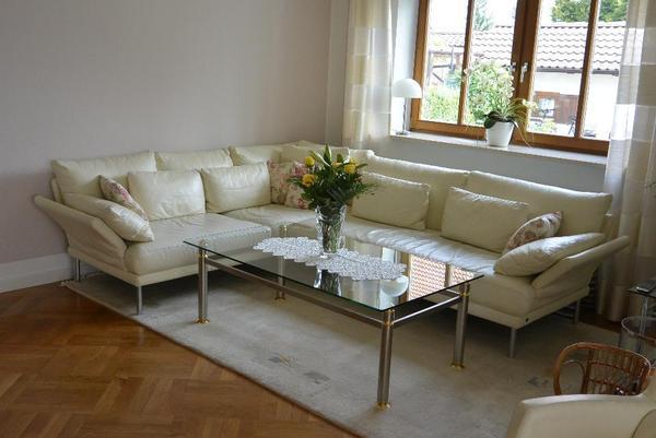 rolf benz eckcouch leder beige eierschalenfarbe in. Black Bedroom Furniture Sets. Home Design Ideas