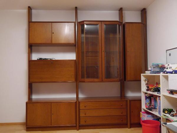 schrankwand omnia riegel facettiert farbe nu baum echtholz furnier vitrine bar fach. Black Bedroom Furniture Sets. Home Design Ideas