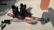 Skischuhe mit Snowblades/