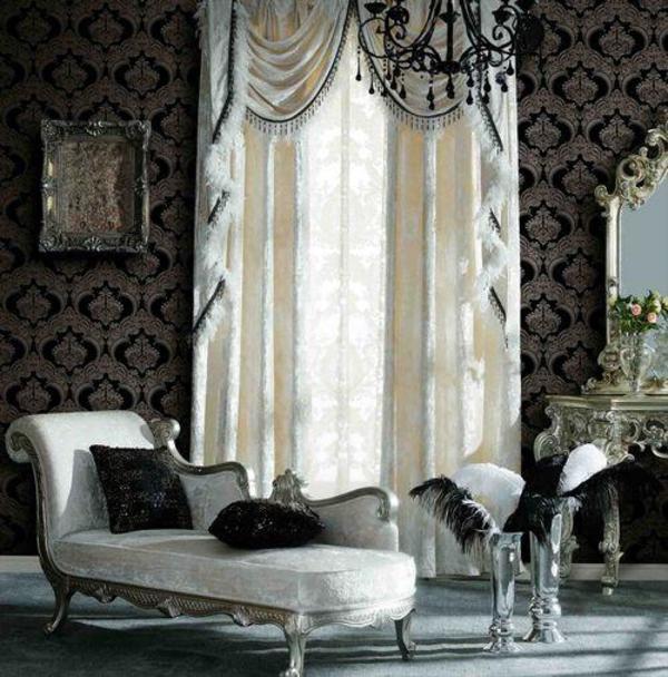 Tapete barock design ornament schwarz wei gold silber 4 for Design dekoartikel