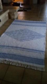 Webteppich blau/weiß