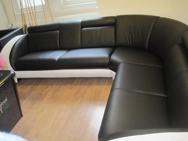 Wohnlandschaft sofa lederlook schwarz wei 999 in for Wohnlandschaft quoka