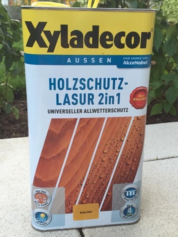 xyladecor holzschutz lasur 2 in 1 eiche hell in unterhaching kaufen und verkaufen ber. Black Bedroom Furniture Sets. Home Design Ideas