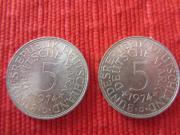 2 mal 5 Mark Silberumlaufmünzen