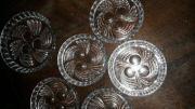 6 antike Glasuntersetzer