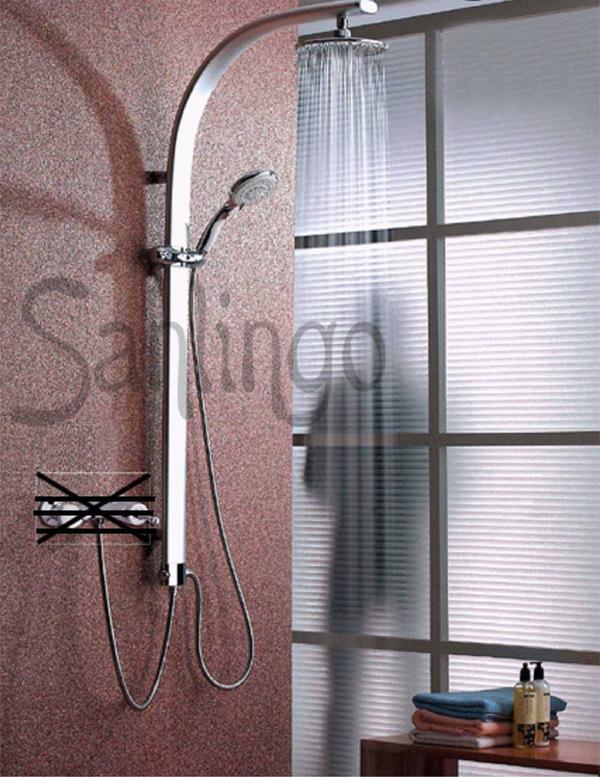 Aluminium Duschpaneel Duschsäule mit Regendusche von Sanlingo - Taunusstein - Aluminium Duschpaneel mit Regendusche und Designer Handbrause. Abmessungen siehe Grafik...Diese Duschsäule können sie ganz einfach an Ihre vorhandene Armatur anschließen.Die Regendusche hat einen Durchmesser von 208mm und ist schwenkbar.M - Taunusstein