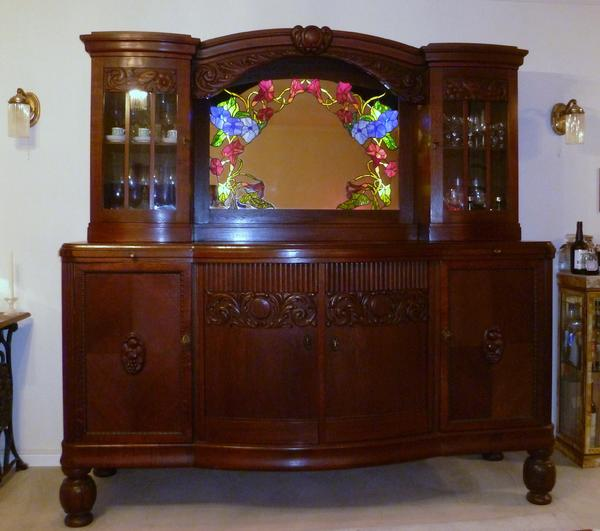 antike m bel nr 4 kredenz buffet jugendstil art deco ca 1915 mit tiffannyglas spiegel in. Black Bedroom Furniture Sets. Home Design Ideas