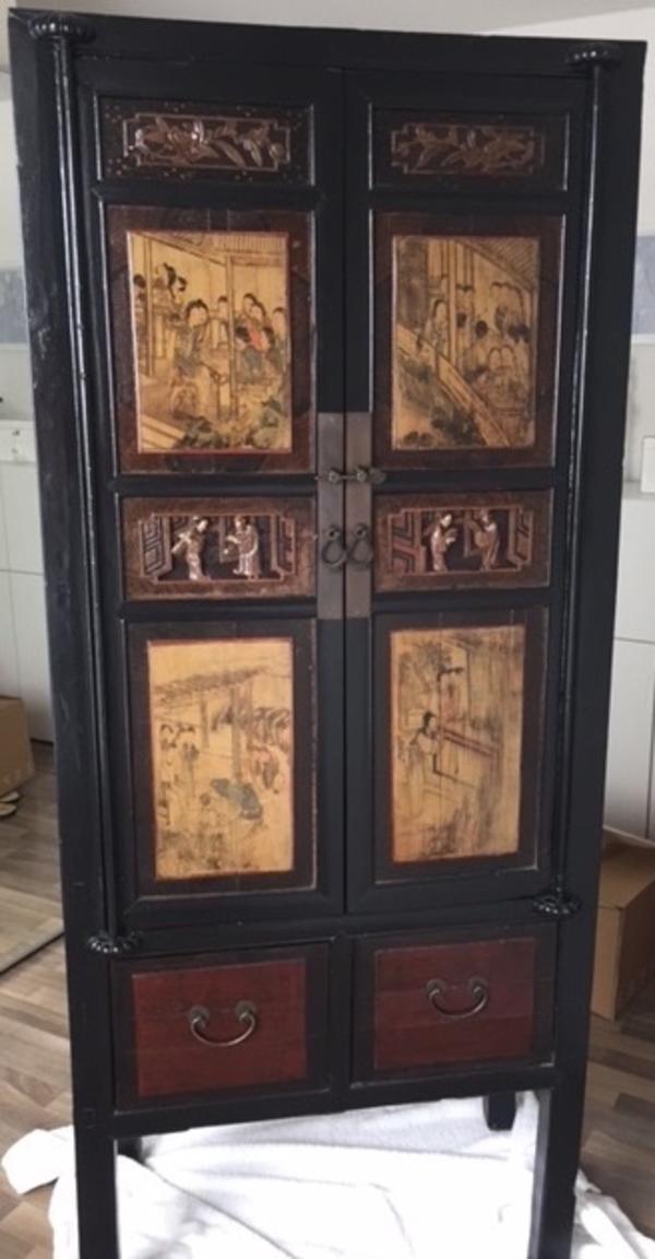 Asia China Hochzeits-Schrank Alt Antik mit tollen Malerein ...