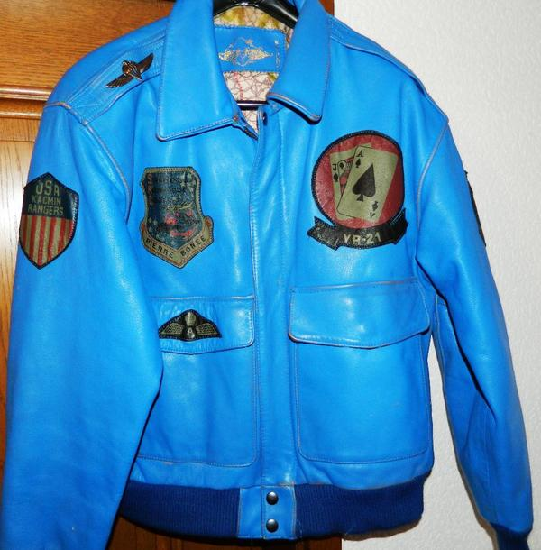 blaue lederjacke gr 50 rote fliegerjacke aviation usa. Black Bedroom Furniture Sets. Home Design Ideas