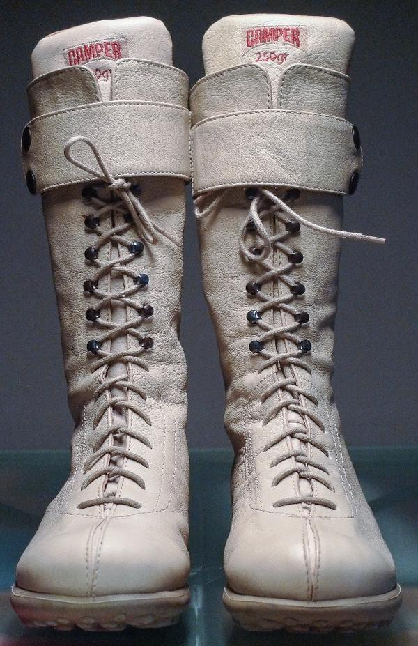 3a08839e5a85a9 Camper Damen Schnürstiefel Boots Stiefeletten Gr. 36 beige Leder in ...