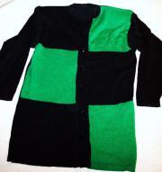 Damenjacke Wolle grün-schwarz Longjacke Strickjacke