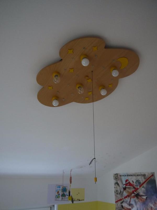 deckenleuchte lampe kinderzimmer - sternenwolke in buche natur