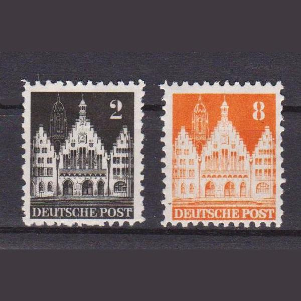 Deutsche Briefmarken Von 1948 Frankfurter Römer Aus Bautenserie Abz
