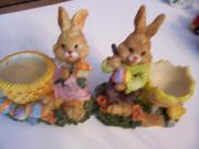 Eierbecher mit Osterhäsin Osterhasenfiguren Osterdekoration