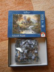 Geschenk Puzzle Kinkade Holzhaus am