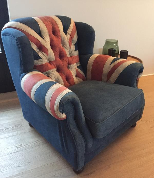 Grandfather chair union jack in altach polster sessel for Sessel union jack