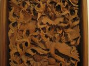 Holz Schnitzerei Bild Relief Asiatisch