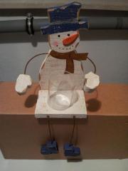 Kantenhocker Schneemann aus Holz Weihnachtsdekoration