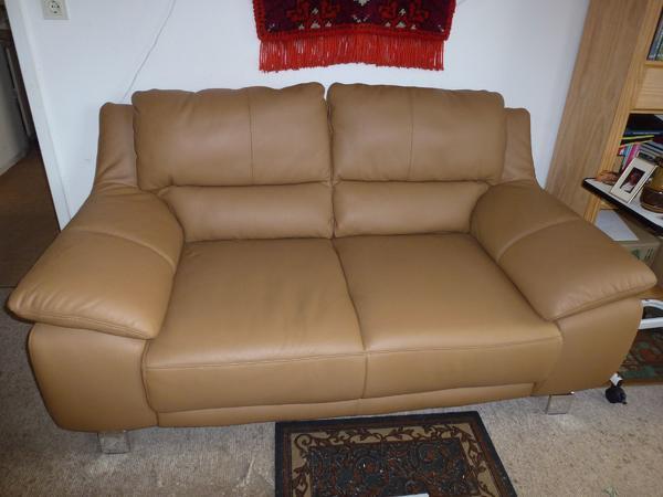 Ledersofa modern  Ledersofa modern neuwertig bequem hellbraun Sofa Couch Zweisitzer ...