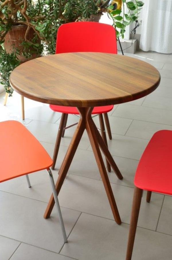 Schöner Designer-Tisch für Büro/Praxis, rund, massiv Holz, fast ...