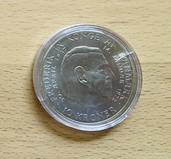 Silbermünze 10 Kroner Dänemark 1972