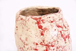 Dekoartikel - Tonvase-Blumenvase cremeweiß rot-Handarbeit