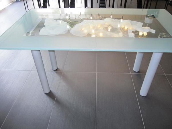 Völker Design exklusiver Esstisch Glastisch mit Zwischenboden ...