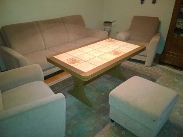 Sitzgruppen Wohnzimmer, wohnzimmer sitzgruppe 3-1-1 mit hocker und tisch in gaggenau, Design ideen