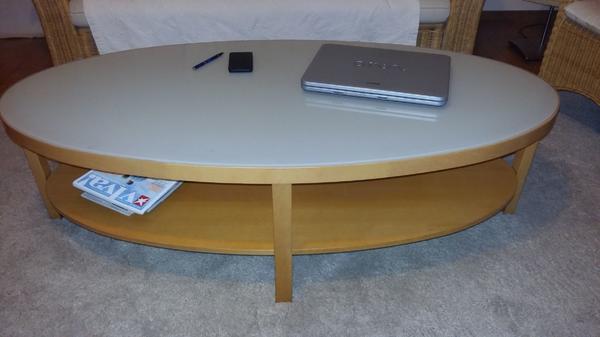 Wohnzimmertisch Oval Mit Milchglasplatte Helles Furnier M